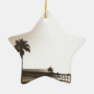 Ornement Étoile En Céramique rétro sépia vintage de la Californie de pilier de