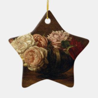 Ornement Étoile En Céramique Roses dans une cuvette - Henri Fantin-Latour