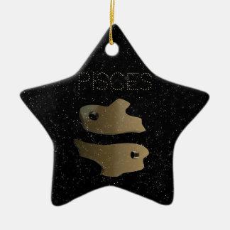 Ornement Étoile En Céramique Signe d'or de Poissons