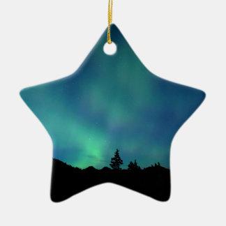 Ornement Étoile En Céramique Special léger bleu, l'aurore Borealis