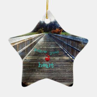 Ornement Étoile En Céramique Suivez votre coeur à travers le pont dans la