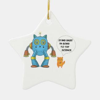 Ornement Étoile En Céramique Tenez-vous retournant pour essayer le chat drôle