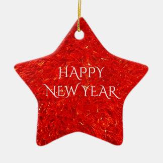 Ornement Étoile En Céramique Texte lumineux de fête de bonne année de couleur