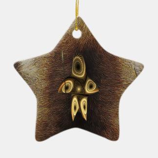 Ornement Étoile En Céramique Tuvaaq - chasseur d'Inuit de fractale