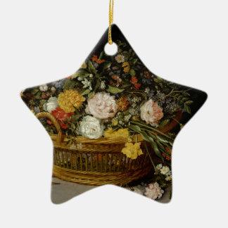 Ornement Étoile En Céramique Un panier des fleurs - Jan Brueghel le plus jeune