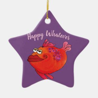 Ornement Étoile En Céramique Vacances géniales d'art de poissons en le rose et
