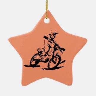 Ornement Étoile En Céramique Vélo et cavalier simples de Motorcross