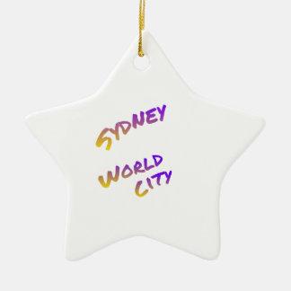 Ornement Étoile En Céramique Ville du monde de Sydney, art coloré des textes