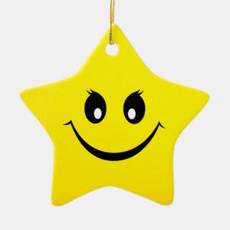 Ornement Étoile En Céramique Visage souriant heureux