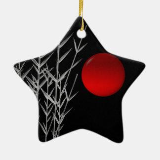 Ornement Étoile En Céramique Zen rouge de blanc de noir du soleil