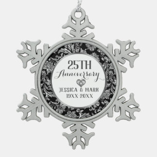 Ornement Flocon De Neige 25ème Modèle d'anniversaire de noces d'argent