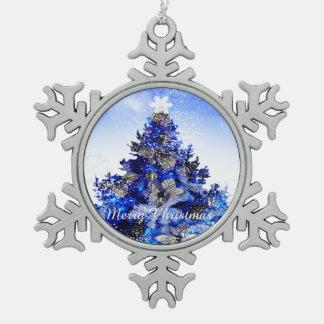 Ornement Flocon De Neige Arbre de Noël bleu