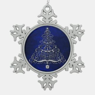Ornement Flocon De Neige Bleu d'arbre de Noël de chrome