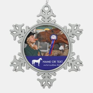 Ornement Flocon De Neige Cavalier personnalisé de photo d'équitation