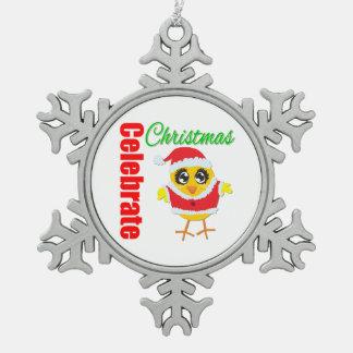 Ornement Flocon De Neige Célébrez le poussin du père noël de Noël