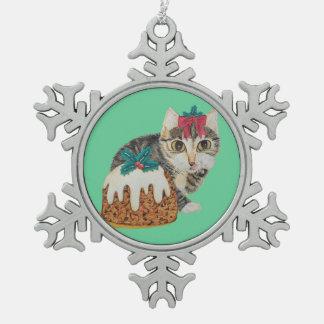 Ornement Flocon De Neige chat tigré gris de chaton mignon léchant Noël de