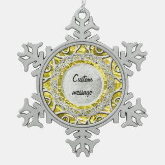 Ornement Flocon De Neige Citrin jaune crépité de novembre de pierre