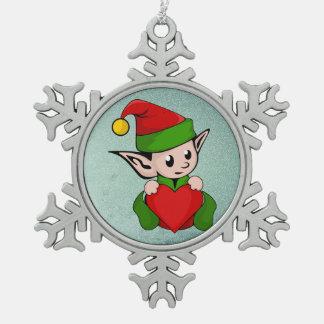 Ornement Flocon De Neige Coeur de rouge d'Elf