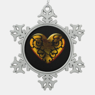 Ornement Flocon De Neige Coeur en filigrane d'or de Goth