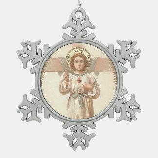 Ornement Flocon De Neige Coeur sacré d'enfant Jésus avec la croix
