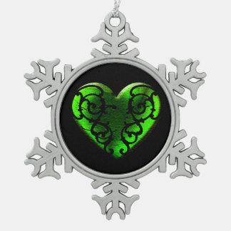 Ornement Flocon De Neige Coeur vert en filigrane de Goth