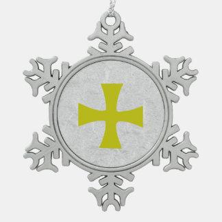 Ornement Flocon De Neige Croix de Byzantin d'or de Faux