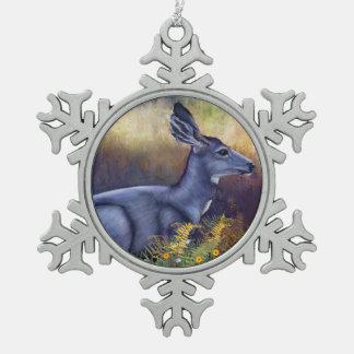 Ornement Flocon De Neige Daine de cerfs communs de mule