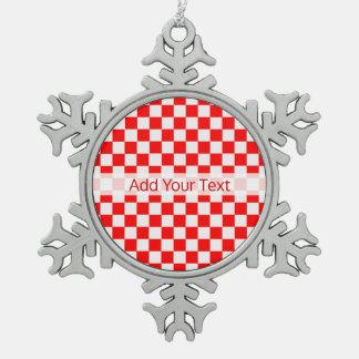 Ornement Flocon De Neige Damier classique rouge et blanc par STaylor