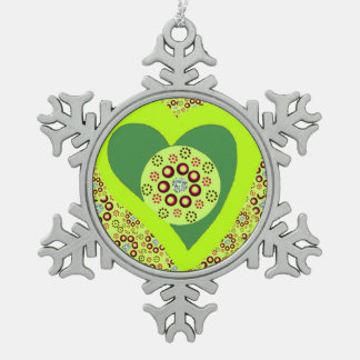 Ornement Flocon De Neige Diamants de coeur de vert d'ornement d'arbre