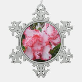 Ornement Flocon De Neige Double ressort rouge et blanc d'azalées floral
