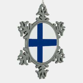 Ornement Flocon De Neige Drapeau de la Finlande