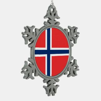 Ornement Flocon De Neige Drapeau de la Norvège