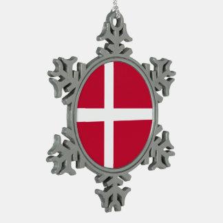 Ornement Flocon De Neige Drapeau du Danemark