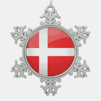 Ornement Flocon De Neige Drapeau rond brillant du Danemark