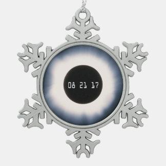 Ornement Flocon De Neige Éclipse solaire totale en noir et blanc