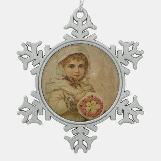 Ornement Flocon De Neige Fille victorienne avec des roses