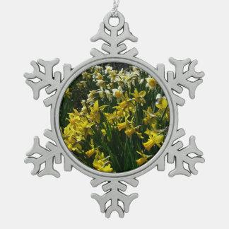 Ornement Flocon De Neige Fleurs jaunes et blanches de ressort de jonquilles