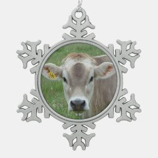 Ornement Flocon De Neige Flocon de neige doux de vache du Jersey