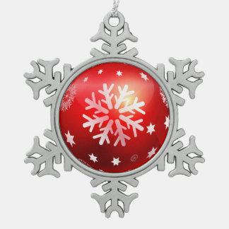 Ornement Flocon De Neige Flocons de neige de Noël blanc sur l'ornement