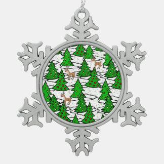 Ornement Flocon De Neige Forêt enchantée -
