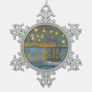 """Ornement Flocon De Neige Galerie de Smeraldo """" nuit étoilée sur le Rhône """""""