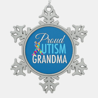 Ornement Flocon De Neige Grand-maman fière d'autisme