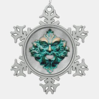 Ornement Flocon De Neige Homme vert en argent - flocon de neige 2 d'étain