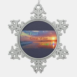 Ornement Flocon De Neige La grande vie de grand vin de nourriture grand