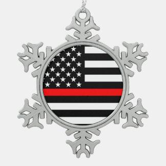 Ornement Flocon De Neige La ligne rouge mince symbolique drapeau américain