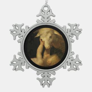 Ornement Flocon De Neige Le bébé Jésus touche le visage de l'agneau