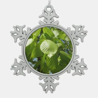Ornement Flocon De Neige Le bouleau de ressort part de l'arbre vert