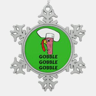 Ornement Flocon De Neige Le chef de la Turquie de thanksgiving avalent