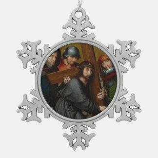 Ornement Flocon De Neige Le Christ portant la croix, avec la crucifixion