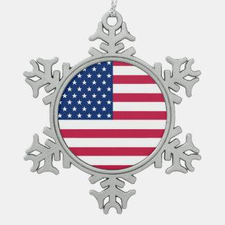 Ornement Flocon De Neige Le drapeau des Etats-Unis tient le premier rôle